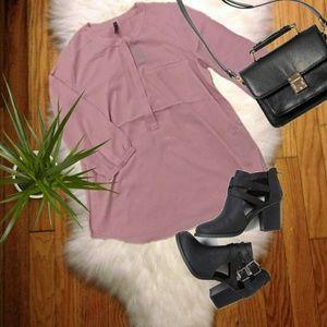 {NYDJ}Pink Pintuck Button Down Blouse